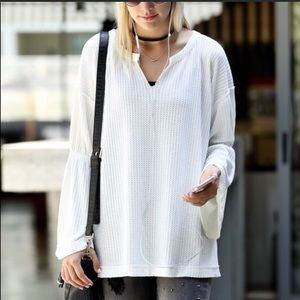 Tops - Bell Sleeve V-neck  Waffle Top in White